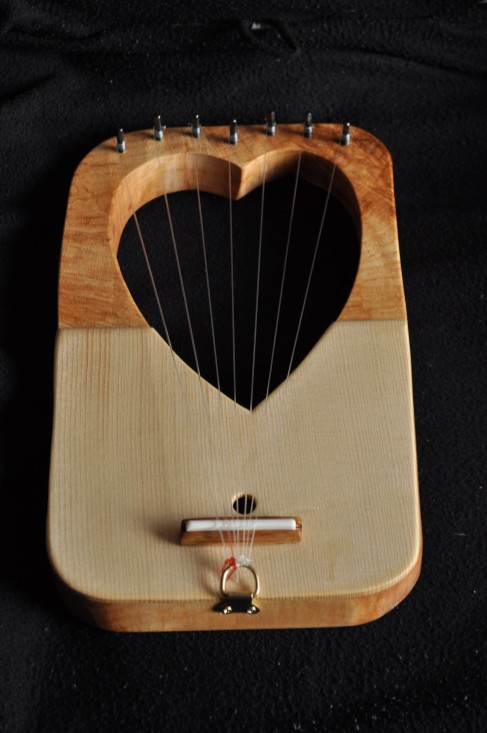 *Medieval Funky Heart* Rippled Sycamore and Spruce with nylon strings
